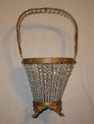 Antique Brass Glass Crystal Jewels Light Lamp Basket Lead Czechoslovakia Vintage