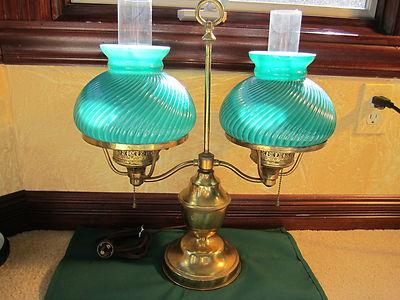 Antique Students Double Light Brass Desk Lamp EMERALD GREEN RIBBED SWIRL GLASS