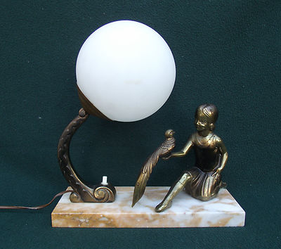 An Antique Art Deco Bronze or Spelter Table Lamp  c1920