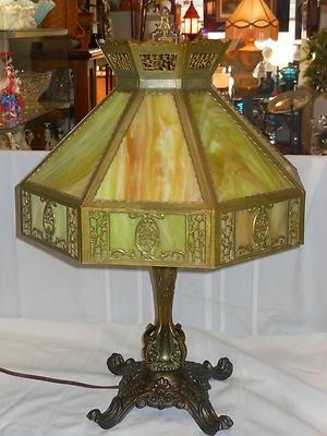 Antique ART NOUVEAU 16 Panel 19″ Shade GREEN/CARAMEL SLAG GLASS Table Lamp RARE