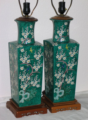 Pair Vintage Antique Oriental Chinese Table Lamps Hollywood Regency Mid Century