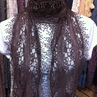 antique  lace  scarf  ( Color  Brown ) Usps First Mail