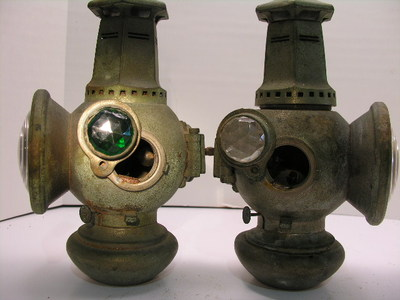Pair OLD 1907 Antique Carriage or Early Auto oil light Adlake nonsweating lamp