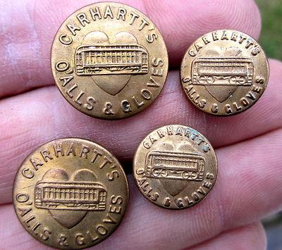 4 Antique CARHARTT Overall BUTTONS Brass w/ Heart & Train/Trolley O'ALLS GLOVES