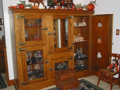 ANTIQUE COMMERCIAL OAK ICE BOX DISPLAY CABINET RESTORED BRASS HARDWARE