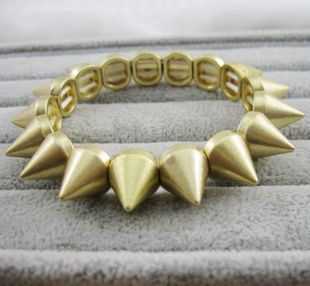 Antique Cute Gothic Punk Biker Gold Cone Studs Spike Bracelet Adjustable Free