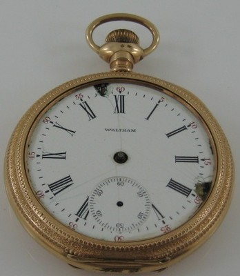 American Waltham Pocket Watch 1902 Yellow Fancy Engraved Case 15J Parts, Repair