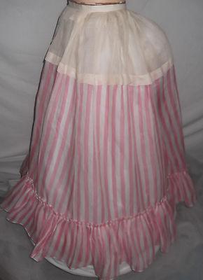 ANTIQUE 1800'S VICTORIAN RARE PINK STRIPE BUSTLE HOOP DRESS SKIRT PETTICOAT DOLL