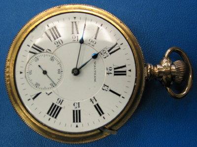 1  ANTIQUE WALTHAM VANGUARD 19 JEWEL 18 SIZE POCKET WATCH DIAMOND ENDSTONE