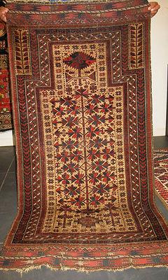 Authentic Mid 19th Century Baluchi Prayer Rug N E Persian  100%   4  COLLECTORS
