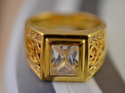 Antique 9K Real Gold Filled CZ Mens Ring,size 9,R294