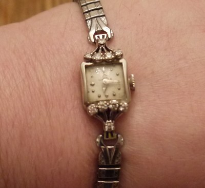 Antique 14k white gold diamond Omega ladies watch