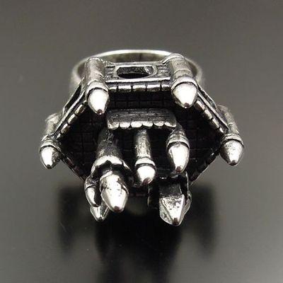 Antique Style silver tone alloy Cool Castle Ring 5pcs