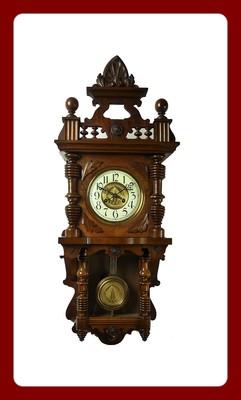 Beautiful Antique German Junghans  Free Swinger wall clock at 1900