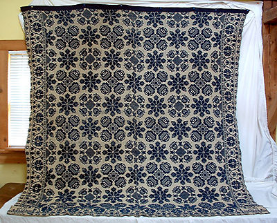 Vintage 1850 Jacquard Doublewoven Ohio Coverlet Made by Adam Wolf for Lucy West