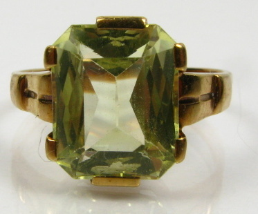 Antique Victorian 1800's 3ct Natural Green Beryl Solitaire 10k Y Gold Ring 2.3g