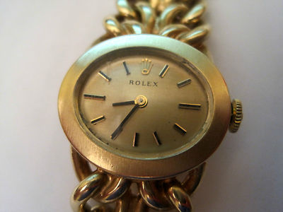 LADIES ANTIQUE ROLEX SOLID 14K YELLOW GOLD 0585 MANUAL WINDING MECHANICAL WATCH