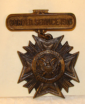Antique Mexican Border Service US National Guard Medal 1916