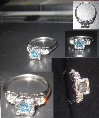 Antique 14kt White Gold Blue & White Diamond Engagement Ring NO RESERVE