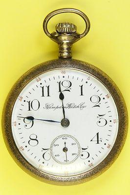Circa 1915 Hampden Open Face Antique Pocket Watch