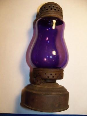 Rare Antique Sun Purple Jewel Skaters Lamp Lantern Kerosene Oil Lamp