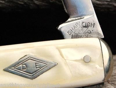 Vintage Old Antique Shapleigh Pen Pearl Composite Pocket Knives 2