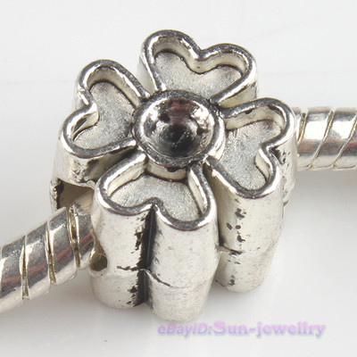 Antique Silver Flower Clover Charm Beads