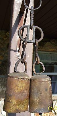 Antique Large Vintage Metal Cow Bells 2
