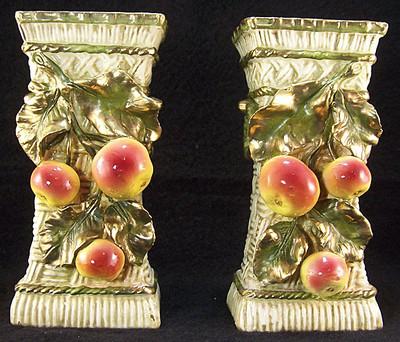 1899 Antique Turn Royal Teplitz Aurora Amphora Pair Majolica Apple Vase