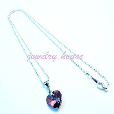 Swarovski Heart Crystal Antique Pink Pendant Necklace