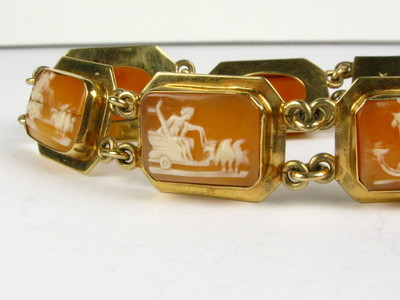 Antique Victorian Carved Beautiful Story Telling Cameo 14k Bracelet 1