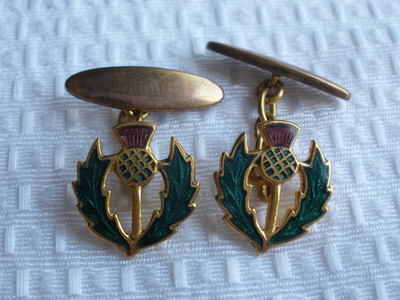 Sharp Antique Enamel Guilloche Thistle Cuff Links Jewelry