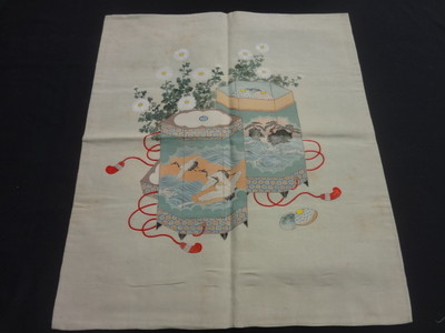 Japanese Kimono Silk Antique Fukusa Hand Paint Yuzen Embroidery