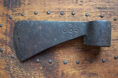 Antique Hand Forged Iron Trade Axe Touchmarks Both Sides 1