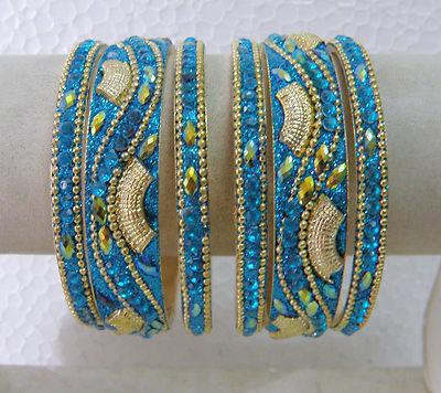 Designer Antique Gold Polish Blue Glitter Work CZ Bangle Set