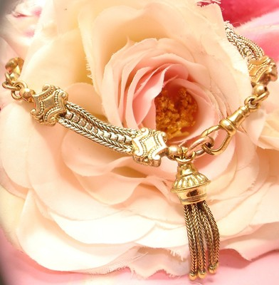 Antique Victorian Old Gold Gilt Albertina Charm Tassel Fob Bracelet Bangle