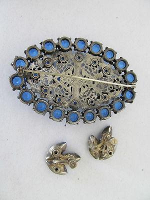 Antique Circa 1910 Brooch With Matching Bracelet Filigree Metal Sterling Silver 2