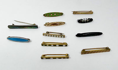 Antique Gold Filled Silver Enamel Seed Pearl Bar Pins Brooches