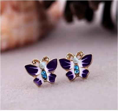 Antique Gold Butterfly Rhinestone Stud Earrings