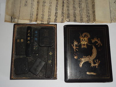 Antique Chinese Lacquer Scholars Box Decorated Dragon 7 Ink Seals Document