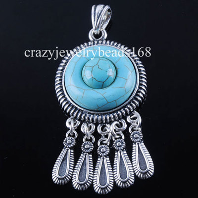 Antique Silver Round Turquoise Gem Bead Pendant Necklace