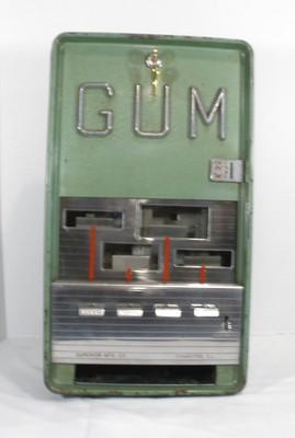Antique 5 Cent Green Vending Gum Machine