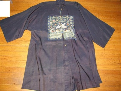 Rare Antique Chinese Dark Blue Linen Rank Badge Robe
