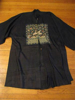 Rare Antique Chinese Dark Blue Linen Rank Badge Robe 1