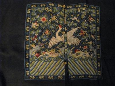 Rare Antique Chinese Dark Blue Linen Rank Badge Robe 2