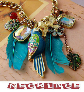 Antique Style Necklaces Blue Feather Parrot Heart Pendants