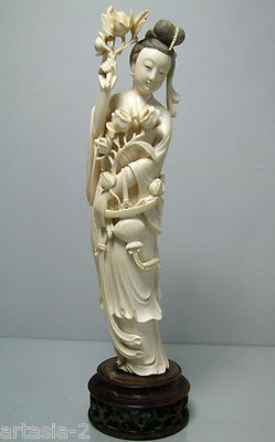 Fine Antique Chinese Carved Ox Bone Goddess Sculpture