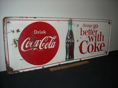 Antique Vintage Original 1964 Coca Cola Advertising Metal Soda Sign