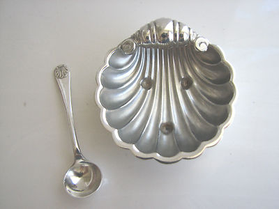 Antique Vintage English Silver Shell Open Salt Cellar Dipdish Bowl With Spoon Set 2