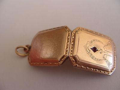 Antique 1920s Art Deco Rose Gold Amethyst 2 Photo Love Token Locket 2
